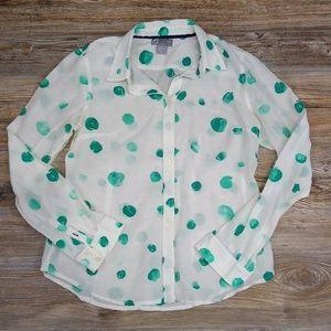 Silk Blend Polka Dot Button Down Top